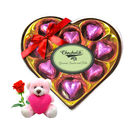 Chocholik Luxury Wrapped Chocolate Box With Teddy and Rose - Luxury Chocolates