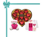 Chocholik's Legend Heart Shape Nicely Wrapped Chocolates With Cute Teddy And Love Card