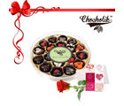 Chocholik 18pc Delight Love Belgium Chocolates with Red Rose and Card