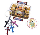 Ferrero Rocher and Snickers with Teddy and Cross Keychain