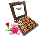 Chocholik Nicely Wrapped Heart Chocolates With Teddy and Rose - Belgium Chocolates
