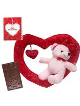 Valentine Romantic Teddy Swinging In Heart