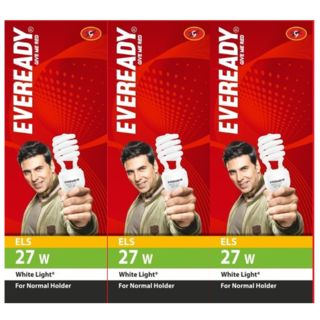 Eveready ELS 27 W CFL Spiral Bulb (White Light, Pack of 3)
