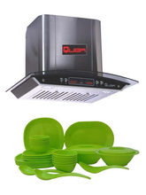 Quba Combo of 60cm 1050 Suction Range Hood 1115 Chimney and Incrizma Lime Green Square Dinner Set Of 32