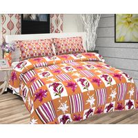 Freely Cotton Pure Cotton Double Bed Sheet With 2 Pillow Covers,  orange