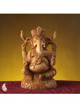 Pure White Wood Ekakshara Ganapati Statue (Brown)