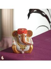 Gold work Ganesh with turban (Multicolor)