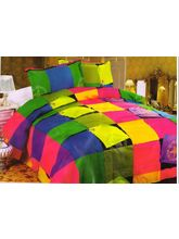 Valtellina Polycotton Boxes Design Double Bed Sheet with Two Pillow Cover, design4