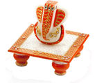 Marvel in Marble - Gold Embossed Lord Ganesh with Chowki (Multicolor)