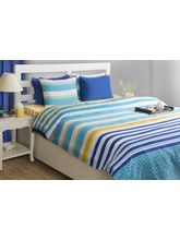 House This Smart Stripe 1 Double Bed Sheet & 2 Pillow Covers, blue