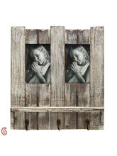 Aapno Rajasthan Natural Look Wooden Photo frame with Key Hooks