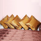 Rivayat Banarasi Hand Made Silk King Size Cushion Cover (set of 5), royal yellow