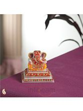 Marble Chowki Ganesh with Kundan work (Multicolor)