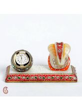 Marble Time Piece And Ganapati Table Dé cor, multicolor