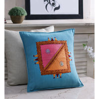 Rang Desi Blue Cotton 16 x 16 Inch Handcrafted Cushion Cover,  blue