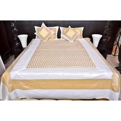 Banana Prints Silky White Route Bedsheets, white and golden