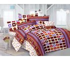 Valtellina Abstract Design Double Bedsheet With 2 Pillow Cover (TC-140), design b, multicolor