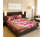 Valtellina India Beautiful Floral Design 1 Double Bedsheet & 2 Pillow Covers (FLT-002), multicolor