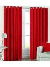 SWHF Solid Door Curtain Set of 2, red