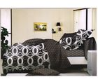 welhouse india Cotton Circular Print Design Double BedSheet With 2 Pillow Cover, black and grey