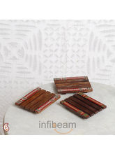 Wooden Coasters In Set Of 3 With Warli Paint (Brown)