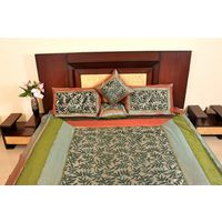 Banana Prints Set of Five Jaguar Bed Cover - BC_ 3008,  green