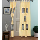 Rang Desi Light Yellow Cotton 108 x 48 Inch Bagh Patch Designer Curtain -,  yellow