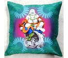 Welhouse India Laughing Buddha Art 3D Cushion Covers, multicolor