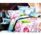 Welhouse India Floral Print Double Bed Sheet With 2 Pillow Cover, blue