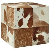 SWHF Square Leather Pouf, tan and white