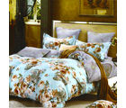 Aapno Rajasthan Cotton Double Bedsheet with Floral Print, blue