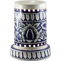 Brahmz Aroma Oil Burner Painted Pipe, ivory and blue