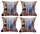 meSleep Cushion Covers Painted 2 GIRLS (Set of 4), multicolor