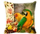 Leaf Designs Yellow Parrot Cushion Cover, multicolor