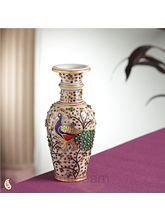 Gold work Peacock Marble Vase (Multicolor)