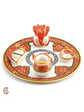 Kundans Studded Hand Painted White Marble Aarti Thali, multicolor