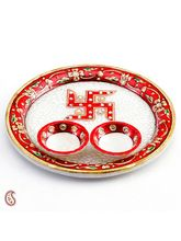 Aarti Thali With Hand Painted Swastika On Marble, multicolor