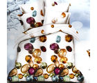 Aapno Rajasthan Polyester Double Bedsheet with Gemstone Print, multicolor