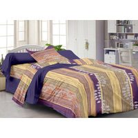 Story At Home Fantasy 1 Single Bedsheet With 1 Pillow Cover,  purple