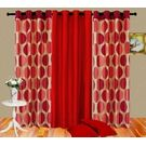 Cortina Punto Set Of 3- 5Ft Curtain,  red