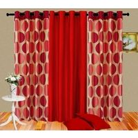 Cortina Punto Set Of 3- 7Ft Curtain,  red