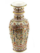 Marvel in Marble - Vase with Embossed Gold and Kundan work (Multicolor)