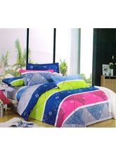 Welhouse India Abstract Print Double Bed Sheet With 2 Pillow Cover, multicolor