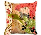 Leaf Designs Taupe Parrot Cushion Cover, multicolor