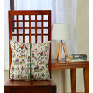 Rang Desi Multicolor Silk 16 x 16 Inch Bhagalpuri Handloom Hand Block Printed Cushion , multicolor