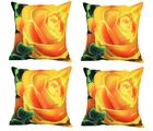 meSleep Cushion Covers Painted YELLOW ROSE (Set of 4), multicolor