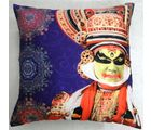 Welhouse India Kerala Kathakali Dance Portraits 3D Cushion Cover, multicolor