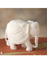 Hand Carved Royal Elephant In Pure White Marble (White)