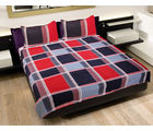 GRJ INDIA Japuri Exclusive Square Print Double Bed Sheet With 2 Pillow Covers, multicolor