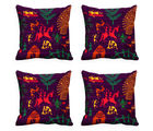 meSleep Set of 4 Cushion Cover with Colored Back, design15